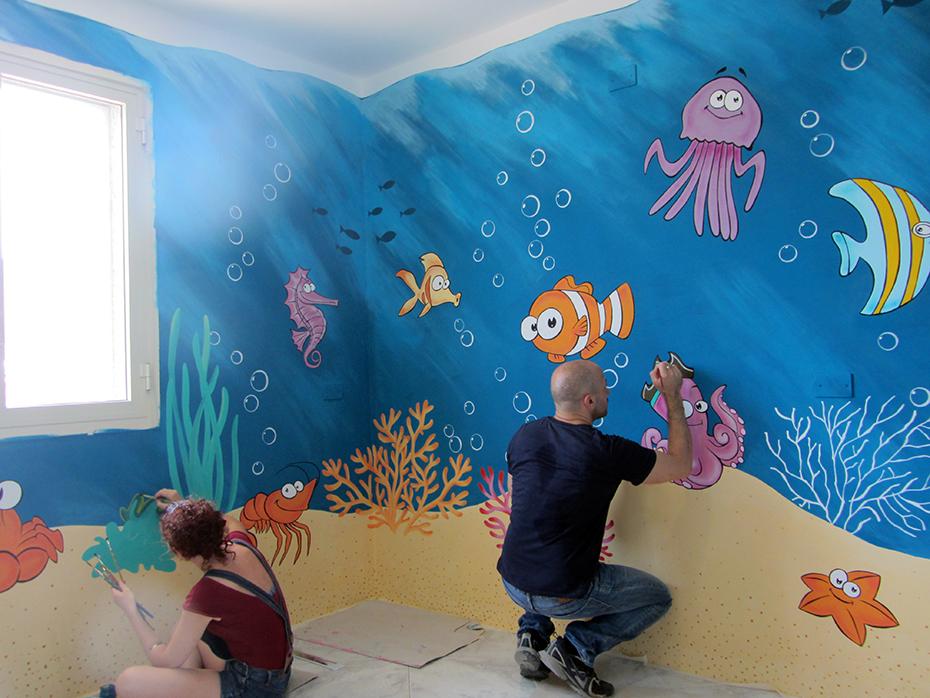 Mural painting nel mondo marino sala di attesa - Decorazione murale ...